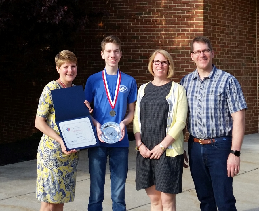 Award Winner Jakob with Mme Beck and family